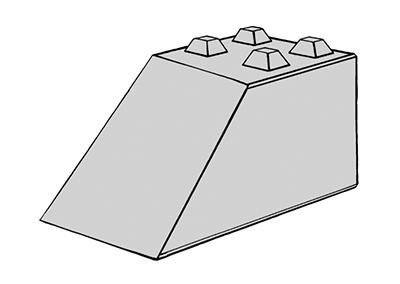 Stapelblok schuin 160x80x80 4 nok uitvoering