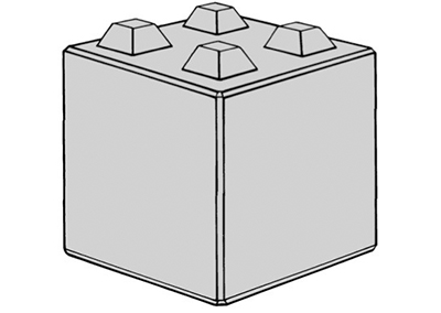Stapelblok (lxbxh) 80x80x80 4 nok uitvoering